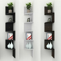 5 Tier Wall Mount Wood Corner Shelf Zig Zag Floating Display Rack Home Furniture