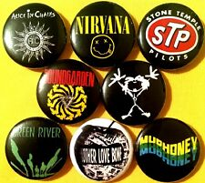 GRUNGE ROCK 8 NEW pins buttons badges NIRVANA SOUNDGARDEN ALICE IN CHAINS STP