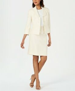 Le Suit Diamond-Texture Three-Button Skirt Suit Ivory 8