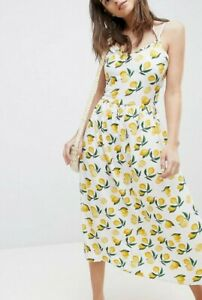 Vera Moda White Lemon Print Dress Size Medium Sold Out 8 10