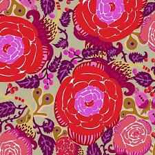 Rose Floral Contemporary Free Spirit Cotton Quilt Fabric PWSN028 Red Purple
