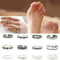 8Pcs Set Sterling Silver Plated Adjustable Thumb Finger Stack Midi Toe Rings