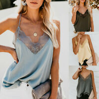 Women's Silk Satin Camisole Plain Strappy Vest Top Sleeveless Blouse Casual Tank