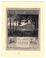 Exlibris Bookplate * GABRIELE MURAD-MICHALKOWSKI Wien * Landschaft Nacht Licht