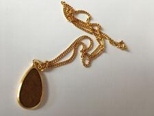 chain & teardrop pendant Nippon Steel 1980s vintage gold