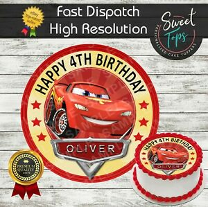 CARS LIGHTNING MCQUEEN EDIBLE BIRTHDAY CAKE TOPPER DECORATION PERSONALISED