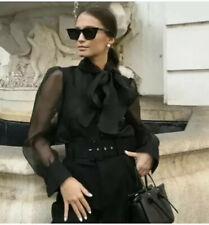Zara organza blouse with bow detail semi-sheer black Small S 8