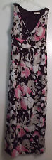 Old Navy Sleeveless Empire Style Dress Lined Wine Floral Cotton Women's Sz 10