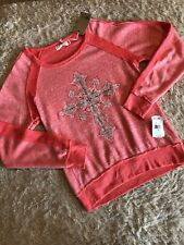 NWT, Girls Miss Me Size Large Coral Pink Top With Rhinestones & Distressed Hems