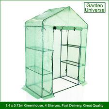 Greenhouse Garden Universe WalkIn PE Cover 4 Shelves 1.4m x 0.73m Roll Up Door