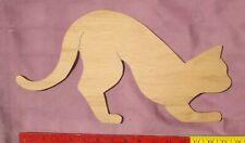 """Wood Cat Cutout 16"""" Unfinished Paintable Craft  1/4"""" thick"""