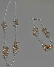 Sterling Silver with Rose Gold Open Hearts Belcher Chain Necklace & Bracelet SET