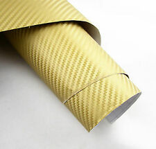 "24""x60"" 3D golden Carbon Fiber Vinyl Car Wrap Sheet Roll Film Sticker Decal"