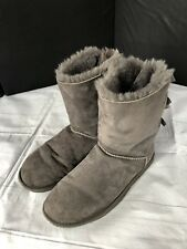 Women's Ugg Gray Suede Leather Bow Boot-8 (1002954)