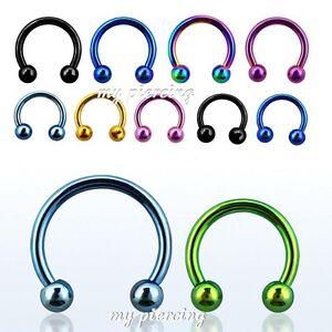 "2pcs 16g~1/4"", 5/16"", 3/8"" Titanium Anodized Steel Horseshoe Circular Ear Septum"