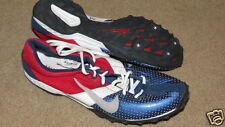 Super Cool Nike Bowerman red, white & blue cross-country spikes cleats mens 7.5