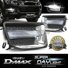 Pair ISUZU D-Max 2012 ON White LED DRL Daylight Fog Spot Light Lamp w/Wiring Set