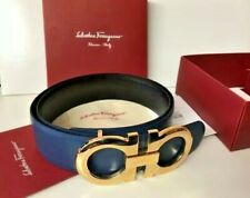 NEW Salvatore Ferragamo Blue/Black Reversible Belt XL Oversized GOLD Buckle