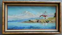 PATOS ISLAND LIGHTHOUSE original oil on canvas painting artist signed framed