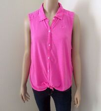 NEW Hollister Womens Pink Sleeveless Top Shirt Size Large Button Down Blouse