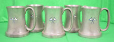 Set of 5 Abercrombie & Fitch English Pewter Private Yacht Mugs