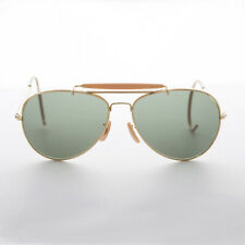 Vintage Pilot Sunglass Cable Temples and Glass Lens Gold Beige 58mm - Wolfman