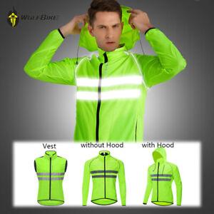Hi Vis Cycling Jacket with Hood Reflective Vest Foldable Waterproof Windbreaker