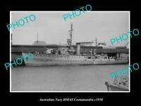 OLD POSTCARD SIZE AUSTRALIAN NAVY PHOTO OF THE HMAS COOTAMUNDRA SHIP c1950