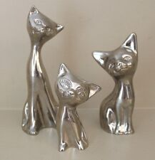 Set of Three Vintage Collectible Chromed Metal Siamese Cats