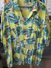 2XL Yellow Hawaiian Shirt Fish Guitar Outriggers Lei Coco Buttons USA Made