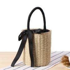 Women Beach Bucket Straw Handbags Open Round Basket Vintage Holiday Lace Up Bag