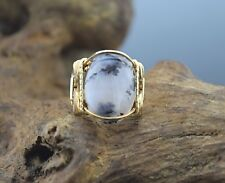 14 k Gold Filled Dendritic Agate or Black Moss Agate Cabochon Wire Wrapped Ring