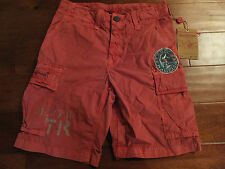 $188 Mens Boys 28 TRUE RELIGION Red Samuel Poplin Cargo Surf Shorts MG34J75AB5