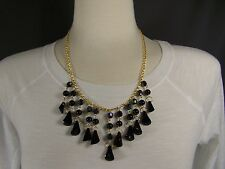 Black Gold tone chain link bib collar dangle statement necklace 18 - 19.5 long