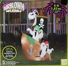 Halloween Gemmy 6 ft Pirate Ship with Ghost Lights Up Airblown Inflatable NIB