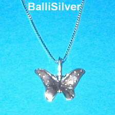 Pendant + Box Chain Sterling Silver 925 Butterfly Charm