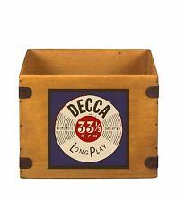 "Record Box 12"" LP Vintage Wooden Album Crate Decca Records Retro"