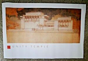 Vintage Poster Frank Lloyd Wright Unity Temple Oak Park Illinois 1999 Pomegrante