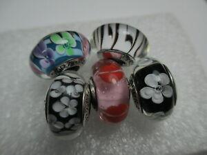 5 Genuine Pandora Murano Beads Charms Black White Zebra Kiss Around Mixed Daisy