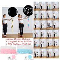 Star Confetti Gender Reveal POP Black  Balloon Confetti Pink+Blue Diy Kit Baby