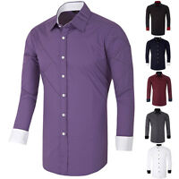 100% NEW Men's Long Sleeve Casual Shirt Button Down Collar Solid Color Shirts PJ
