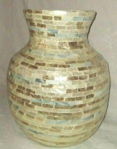 "Large Capiz Shell Vase Blue Copper Gold Off-White 10 1/2"" Tall"