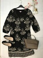 Peruna Size 12 black sequin smock dress floral work career office business vgc