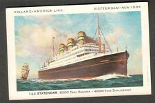 unmailed post card Holland America Line ship TSS Statendam Rotterdam New York