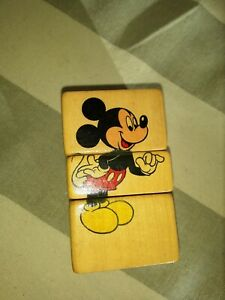 VNt Wooden 4 sided Spinning Block w Mickey, Pluto, Don,Goof Disney Puzzles Italy