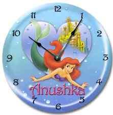 LIL MERMAID Ariel Wall Clock Nursery Art Personalized Custom Room Decor - 7189_F