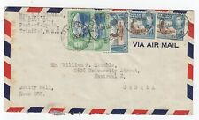 1946 Overlap Trinidad & Tobago KGVI 20c Air Mail Port of Spain to Montreal