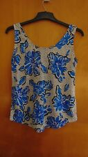 M&S Smart Sleeveless Scoop Neck Floral Vest Top 10 Blue Mix BNWT