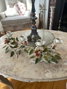 Pair Vintage Italian Tole Double Candle Holders Candlesticks Pinkish Red Roses
