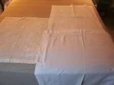 3 pc vintage large white on white embroidered table linen cutter lot